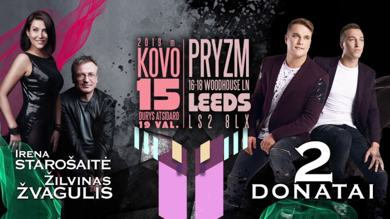 """Irenos Starošaitės, Žilvino Žvagulio ir """"2 Donatų"""" koncertas Leeds"""
