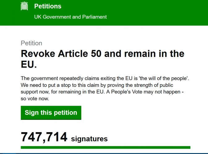 """Peticija dėl """"Brexit"""" atšaukimo """"nulaužė"""" JK parlamento tinklalapį"""