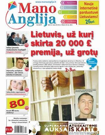 Lietuvis, už kurį skirta £ 20 000 premija, už grotų